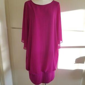 MSK Magenta Dress,  Blouson Style w/Band,1X